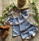 UK Toddler Kids Baby Girls Off Shoulder Lace Tops + Denim Shorts Outfits Clothes