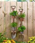 RUSTIC METAL SHOVEL PITCHFORK GARDEN PLANTERS VERTICAL SPACE SAVING OUTDOOR DECO