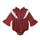 UK Xmas Newborn Kid Baby Girls Lace Plaids Romper Bodysuit Dress Outfit Clothes <br/> ✔3-7 Days Fast Ship✔Fashion &amp; Brand New✔High Quality✔