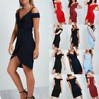 Ladies Womens Cold Cut Shoulder Wrap Over Asymmetric Strappy Midi Bodycon Dress