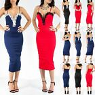 Ladies Womens Lace Trim Crochet Cami Strappy Party Evening Bodycon Midi Dress