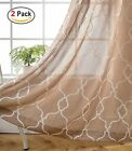 Miuco Moroccan Embroidered Semi Sheer Curtains Faux Linen Grommet Curtains for