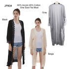 Solid Color Long Cardigan fearturing Lace Hem and Pockets in Front