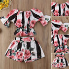 Toddler Kids Baby Girls Floral Outfits Clothes T-shirt Tops+Pants 2PCS Sets USA