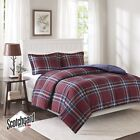 Blue & Red Traditional Plaid Down Alternative Comforter AND Shams - ALL SIZES