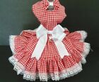 DOG DRESS/HARNESS  RED CHECK COUNTRY GIRL WITH WHITE LACE  FREE SHIPPING