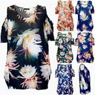 Womens Ladies Floral Printed Cold Shoulder Short Sleeve Oversized Cut Out Top