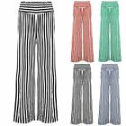 Women Ladies High Waisted Flared Palazzo Striped Wide Leg Stretchy Pants Trouser