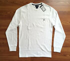 $50 NWT Polo Ralph Lauren Mens White Long Sleeve Waffle Cotton T Shirt Logo S M
