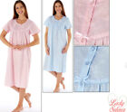 Fiona Poly/Cotton Short Sleeve Embossed Floral Nightdress - Blue - 10 to 24