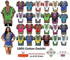 100% Cotton Ladies Men Dashiki Short Sleeve Kaftan Mexican Caftan Batik Dress UK