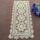 Floral Lace Wedding Party Table Runner Vintage Hand Crochet Cotton Doily Beige