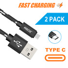 2 Pack Universal USB C Cable Fast Charger Type C Data Sync Cord for Smartphone