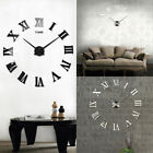 Modern Large 3D Mirror Surface Wall Clock Sticker Home Office Room DIY Decor US