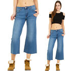 Womens Blue Faded Faded Wide Flared Leg Cropped Denim Shorts Jeans Frayed Ends