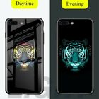 For iPhone Xs Max X Black Panther Cover Noctilucent Luminous Tempered Glass Case