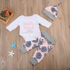 4pcs Set Baby Mädchen Strampler Langarm Body Overall Hosen Hut Stirnband Outfits