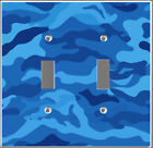 Artfully crafted light switch cover blue camo pattern bedroom home decor v4