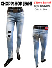 Men's Skinny Stretch Ripped Destroyed Torn Denim Jean Pants