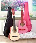 """30"""" Wood Guitar with Case Genuine Real Steel Strings & Case New Kids Childs"""