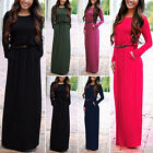 Womens Long Sleeve Evening Cocktail Party Solid Summer Beach Long Maxi Dress