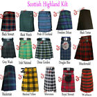 Scottish Mens Kilt Traditional Highland Dress Skirt Kilts Tartan 13oz UK Stock