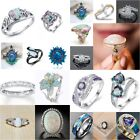 Fashion 925 Silver Opal Gemstone Ring Wedding Engagement Women Jewelry Size 6-10