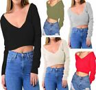 Ladies Long Sleeve V Neck Off Shoulder Top Womens Knitted Warm Cropped Jumper