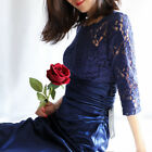 Ever-Pretty US Long Navy Blue Bridesmaid Dresses Elegant Lace Formal Gown 09882