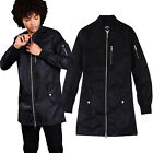Brave Soul Atherton Mens Longline Bomber Jacket Zip Up Mac MA1 Mesh Trench Coat