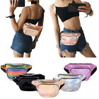 Women Girl Waist Pack Iridescent Holographic Shiny Fanny Pack Fashion Bum Bag