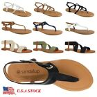 Women Gladiator Sandals Shoes Thong Flop Strap Flip Flat Siz