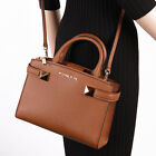 NWT Michael Kors KARLA Small East West Leather Satchel Crossbody Bag in Luggage