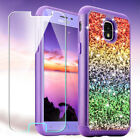 For Samsung Galaxy J3 V 2018/Amp Prime 3 Bling Glitter Case+Tempered Glass Guard