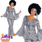Ladies Dancing Queen Fancy Dress Costume Black White 1970's Disco Diva