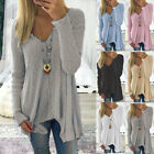 Plus Size Womens Long Sleeve V Neck Irregular Tops Loose Blo