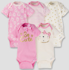 Внешний вид - Baby Girl Lot of 5 Onesies So Cute Pink Bear Hearts NWT Gerber NB 3 6 9 Months