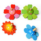 Wooden Spinning Tops Educational Painted Flower Rotating Gyro Toy  for Kids G
