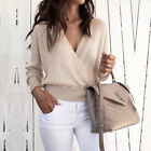 Fashion Womens Long Sleeve V-neck Ladies Tops Loose Blouse Short Sweater Jumpers