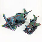 Resin Fish Tank Ornament Cave Aquarium Decoration Damaged Battle plane Fighter