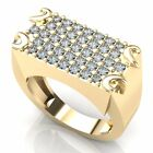 5.00 ct Mens 10K Gold Natural Round Diamond Flat Fashion Cluster Wedding Band