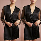 Womens Sexy Silk Satin Deep V Bathrobe Pajamas Robe Lingerie Sleepwear Nightwear