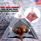 Внешний вид - New Pet Kennel Navy Striped Teepee Tent Cat Dog Bed Puppy Kitten Play House Pad
