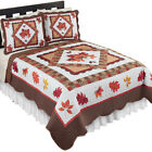 Fall Leaves Patchwork Quilt, Reversible, Holiday Bedroom Décor image