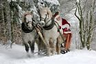 Christmas Santa Claus & Horse Carriage -  Art Picture Poster Photo Print 2XMS