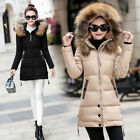 Women's Hooded Jacket Quilted Padded Puffer Fur Collar Warm Winter Parka Coat