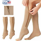 Mens Womens Running Zipper Compression Socks Support Stockings Leg Calf (S-XXL)