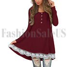 Women's Round Neck Tops Long Sleeve Button Lace Scoop Neck A-Line Tunic Blouse
