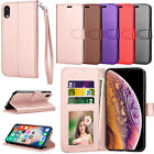 For Iphone Xr/xs Max/7/8/se 2 Wallet Pu Leather Flip Stand Strap Card Case Cover