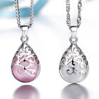 925 Sterling Silver Opal Pendant Necklace Flower Shape For Women Jewellery